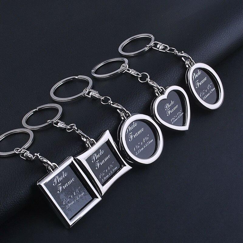 Logotipo personalizado mezclado foto marco llave cadena llavero regalo coche llave cadena llavero Mental joyería llaveros