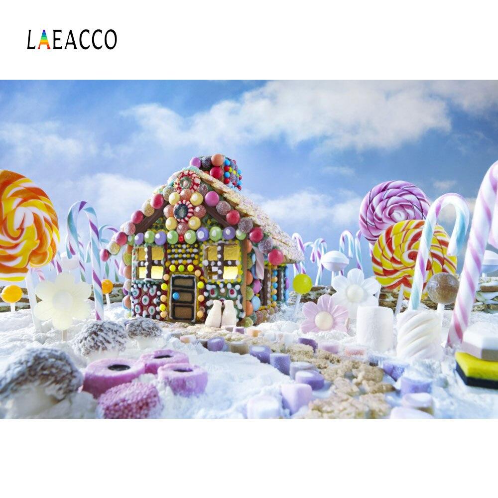 Laeacco país das maravilhas lollipop casa de doces do bebê recém-nascido fotografia fundos personalizados backdrops fotográficos para estúdio foto