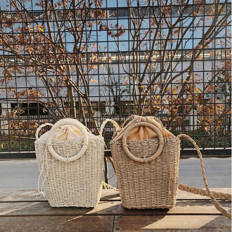 Bolso de mimbre tejido a mano Vintage para mujer, bolso de paja, bolso cruzado de mimbre, bolso Casual de playa para mujer, regalo