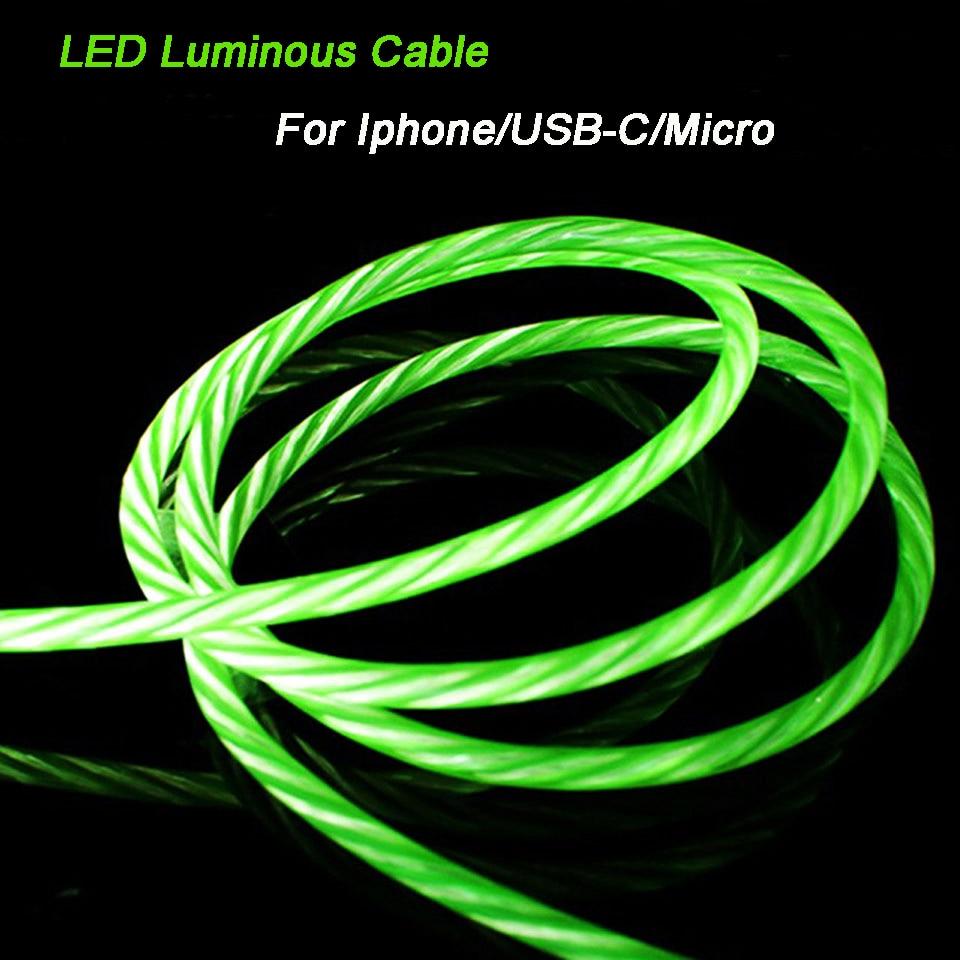 Cable de carga Usb brillante Led Cable de carga Android Cable de carga tipo C Cable Micro usb para Samsung J3 J5 J7 A8 A5 A7 A9 2017 2018 2016 S5 S6 S7