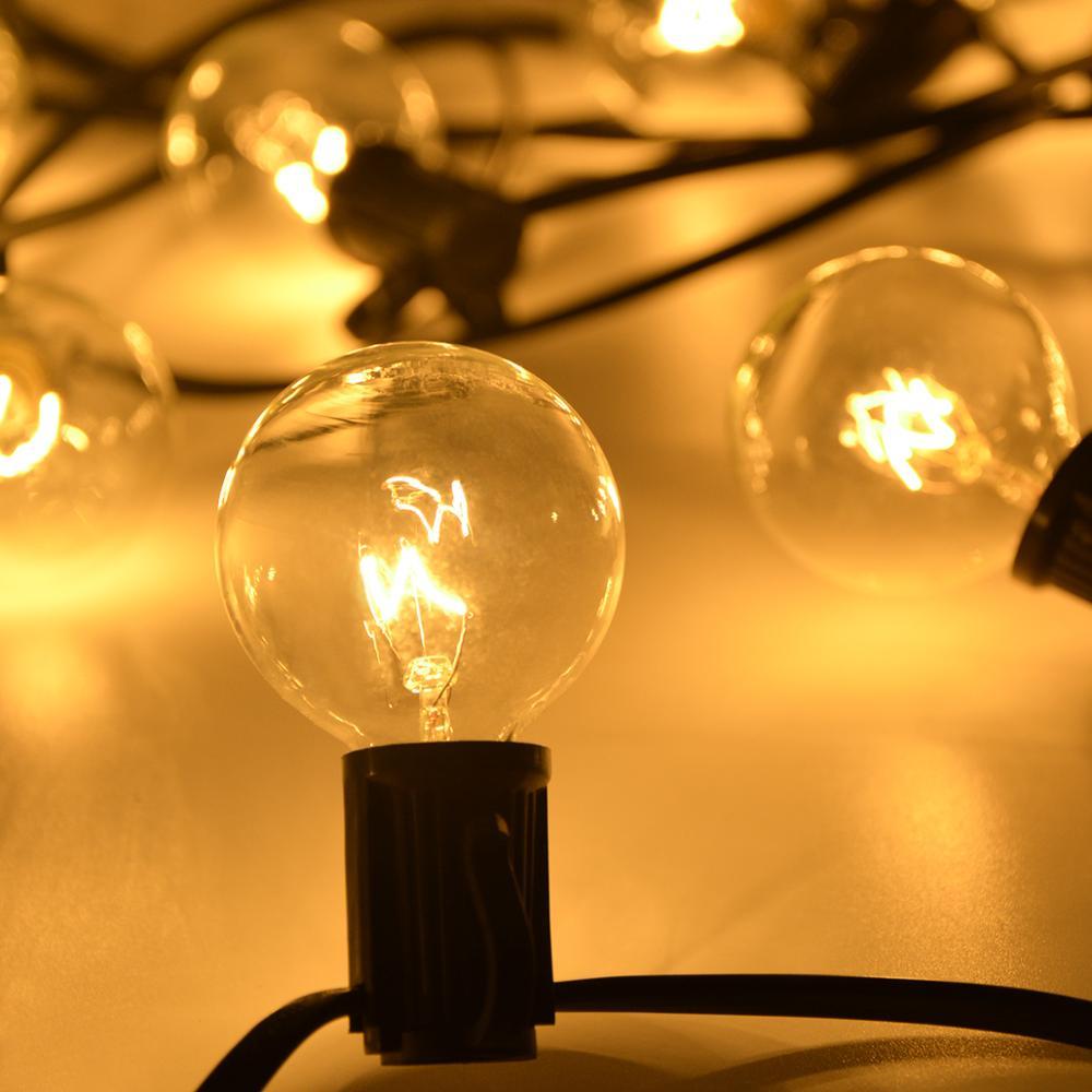 G40 globo do vintage lâmpada luzes da corda 25 pçs lâmpadas pátio ao ar livre luz guirlande decoração festa jardim melhor do que lâmpada incandescente
