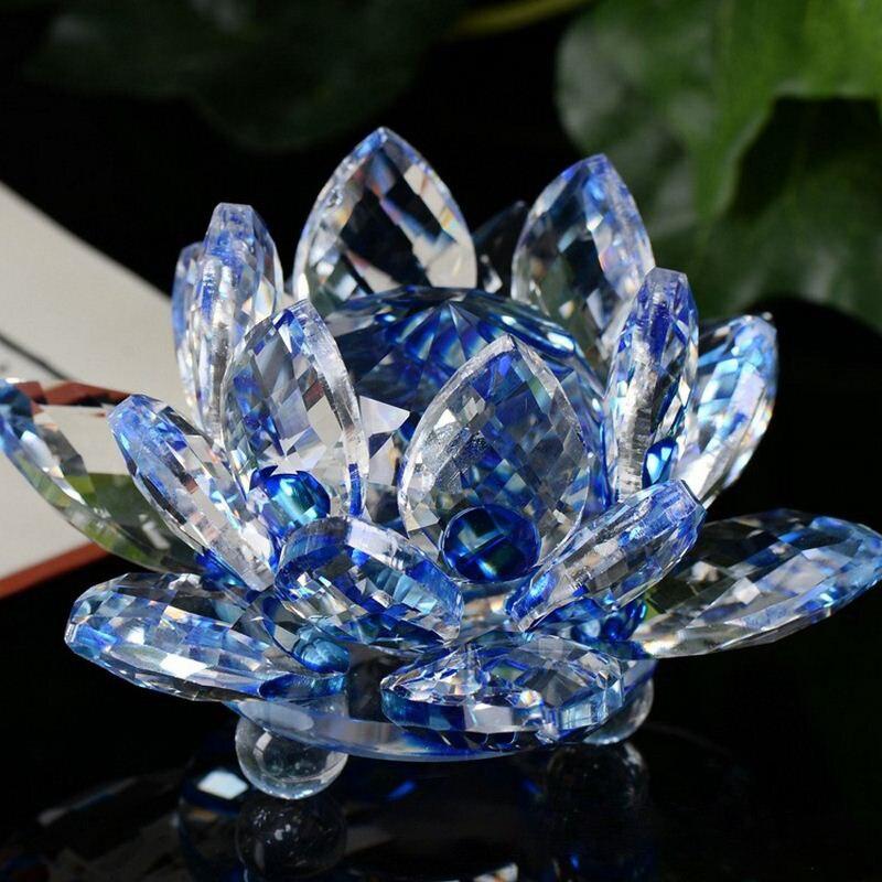 Cuarzo Lotus cristal artesanías flores miniaturas pisapapeles Fengshui adornos regalo decoración del...