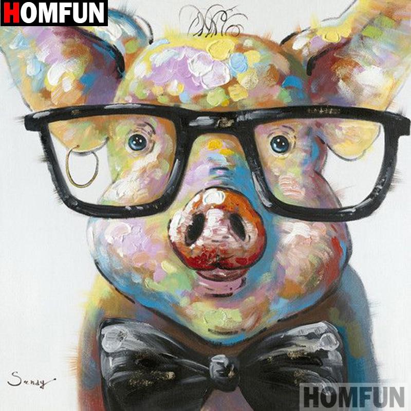 "HOMFUN Full Square/Round Drill 5D DIY Diamond Painting ""Cartoon pig"" 3D Embroidery Cross Stitch 5D Decor Gift A14293"