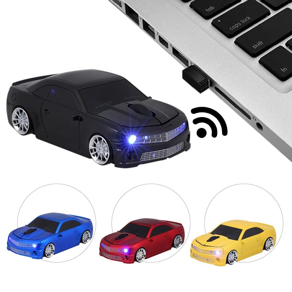 KuWFi 2.4G sans fil USB ordinateur souris voiture souris voiture forme 1000DPI avec récepteur de lumière LED pour PC portable ordinateur de bureau ordinateur portable MacBook