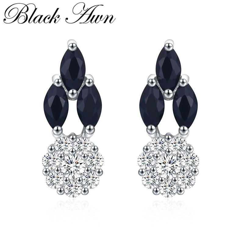 Nuevo producto negro Awn, joyería de plata de ley 925 auténtica, pendientes de tuerca con piedra de espinela negra, bonitos pendientes de tuerca para mujer, bisutería II094