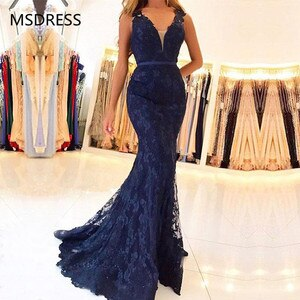 Mermaid Lace Evening Dresses 2019 V Neck Navy Blue Formal Evening Gown With Beading vestido de fiesta Long Prom Dresses