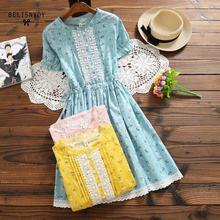 Mori Girl Cotton Linen Dress New Women Short Sleeve Floral Printed Summer Dresses Crochet Patchwork Ruffles Femininos Vestidos