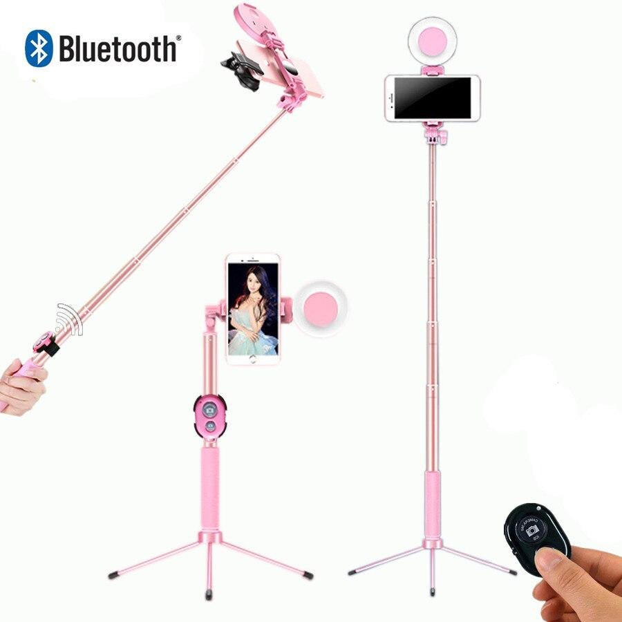 Selfie Stick LED Ring licht Erweiterbar live Stativ 1,7 m Stehen 4 in 1 Mit Einbeinstativ Telefon Halterung für iPhone X 8 Android smartphone