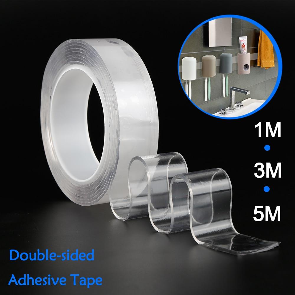 Cinta adhesiva transparente de doble cara para colgar en la pared del hogar Nano Magic Tape impermeable 1/2/3/5M Dropship