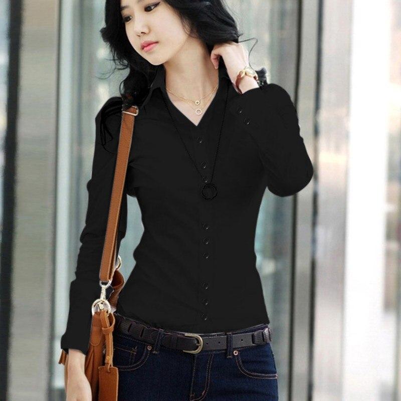 Blusas de primavera verano para mujer, camisas de oficina con cuello vuelto, camisas ajustadas, blusas a la moda de manga larga, blusas lisas, Tops 2019