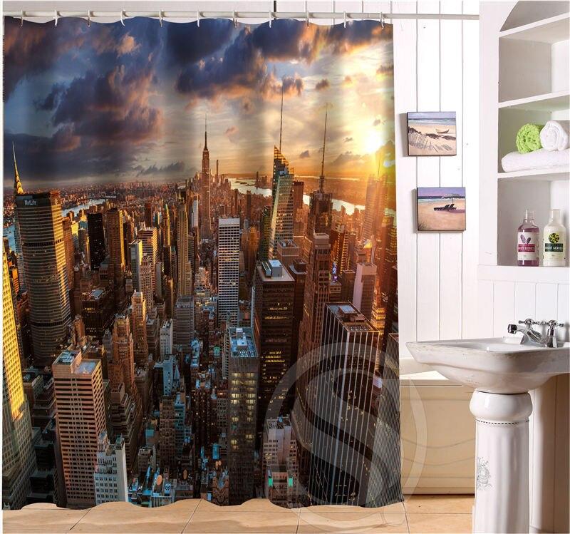 Custom beautiful Bath Curtain New York City Style beautiful Shower Curtain For Bathroom