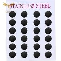 wholesale black earrings simple stud earring 12pairslot stainless steel jewelry for women men unisex aretes negros
