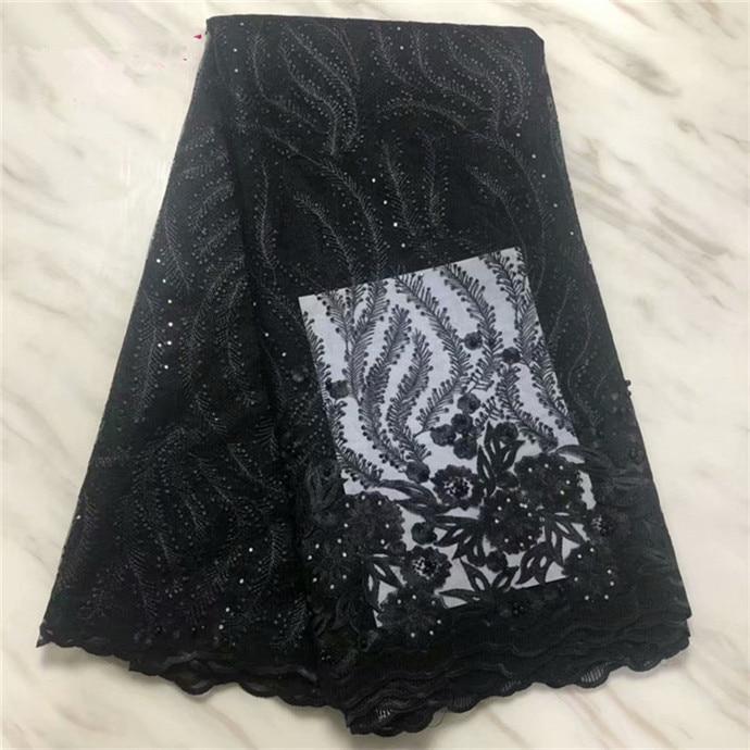 Francês laço nupcial tecido frisado pedras africano tela do laço de tule 5 metros por lote tecido de renda líquida para o vestido preto branco