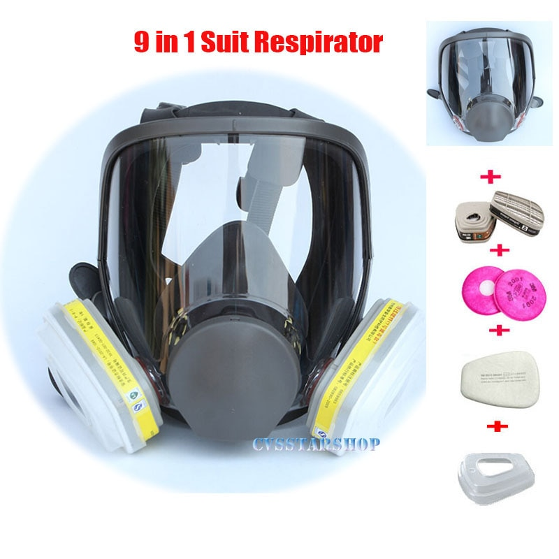 9 In 1 Painting Spraying Safety Respirator Gas Mask same For 3M 6800 Full Face Facepiece
