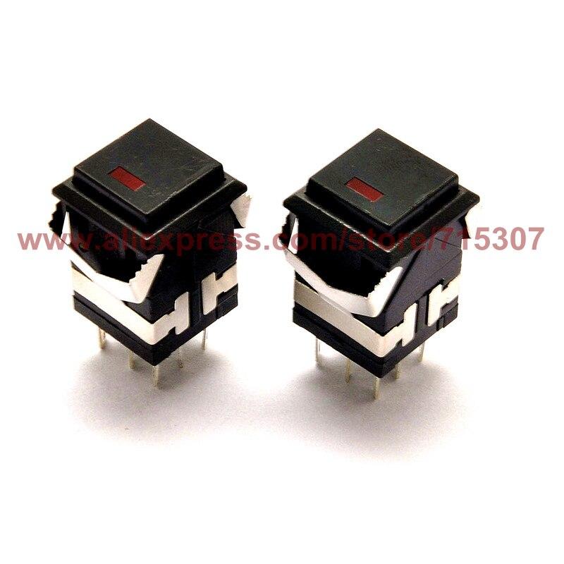 PHISCALE 10 шт., самоблокирующийся кнопочный переключатель с подсветкой, KD2-21, 3 А, 250 В, 8 контактов, DPDT, черный, 19x19мм