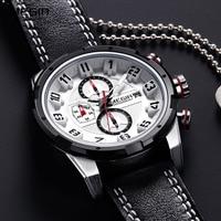 Leather Strap Quartz Wrist Watches for Men Army Military Sport Clock Stop Watch Man Relogios Masculino Black White 2082GS-BK-7
