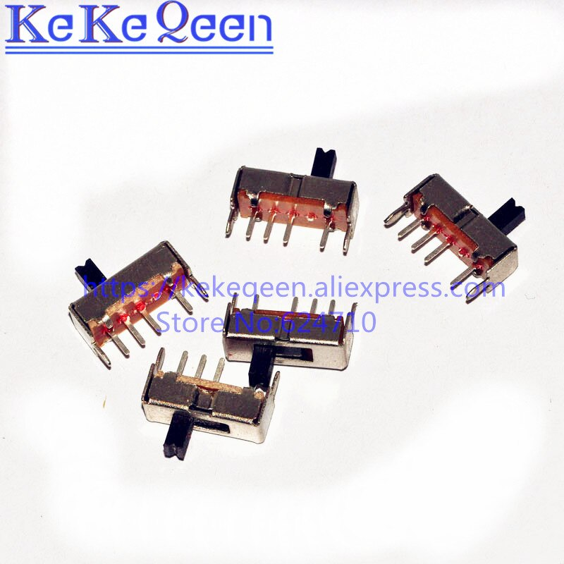 500 unids/lote SS13D07G4 3 posición SPDT 1P3T 6 Pin PCB Mini Panel Vertical interruptor deslizante SS13D07VG4