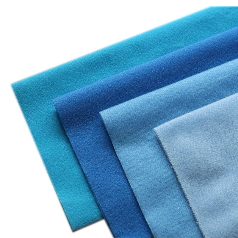 4 unids/lote de tela Velboa azul de poliéster con velcro cepillado para coser Patchwork, felpa de fieltro, DIY, cosas de muñecas de juguete
