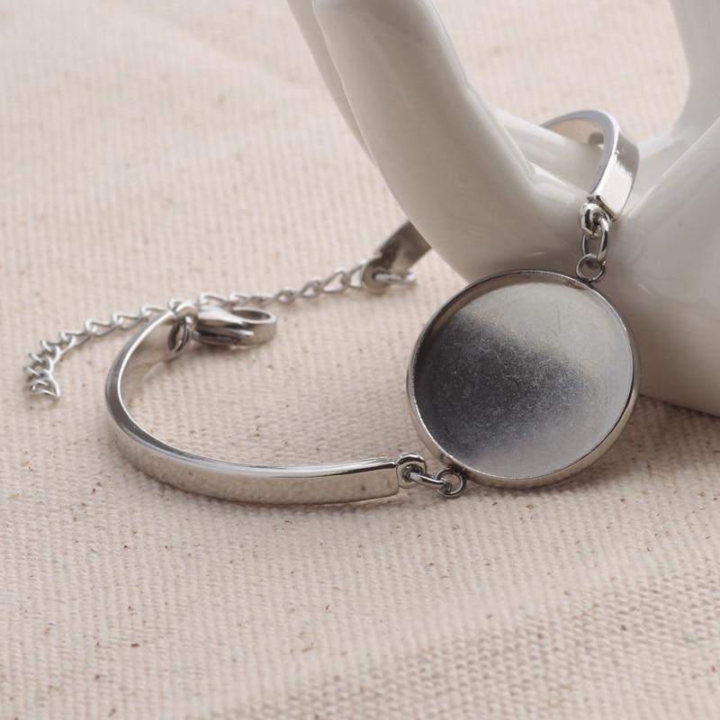 Набор круглых пустых браслетов из нержавеющей стали, 10 шт., 20 мм, базовый браслет из кабошона, аксессуары для самостоятельного изготовления браслетов