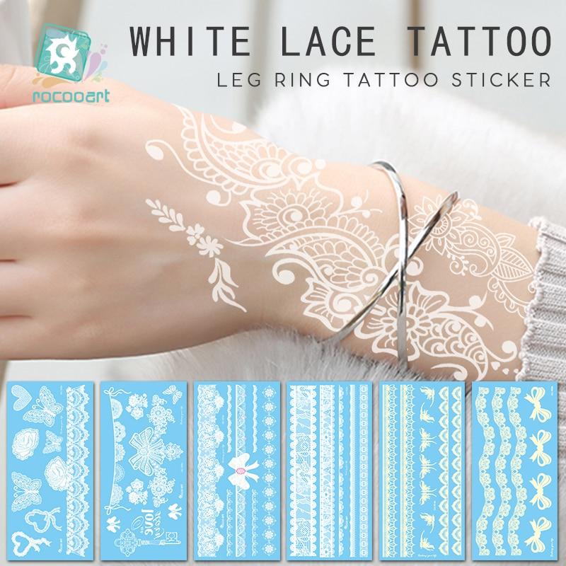 Разные белые кружевные стильные временные тату-наклейки хной, Женские Ювелирные изделия для рук, паста, бант, цветок, водонепроницаемые иск...