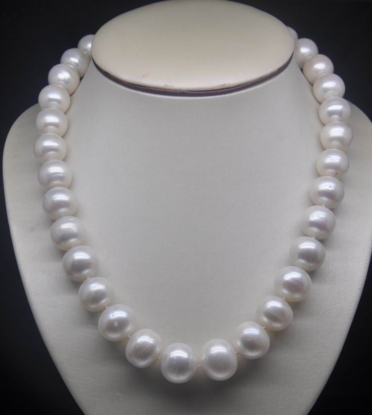 """Envío Gratis> Natural 9-10mm AA + + blanco agua de mar redondo collar de perlas 18 """"Nuevo cierre"""