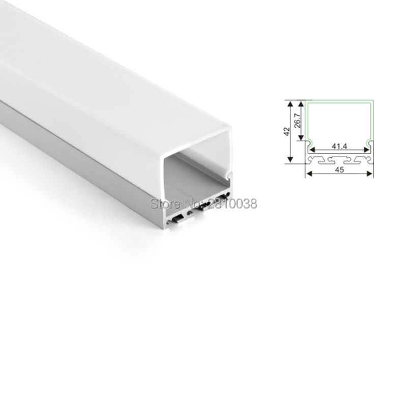 100 X1 M Sets/Lot anodized silver aluminum profile led and U square led channel profile for ceiling or wall lights