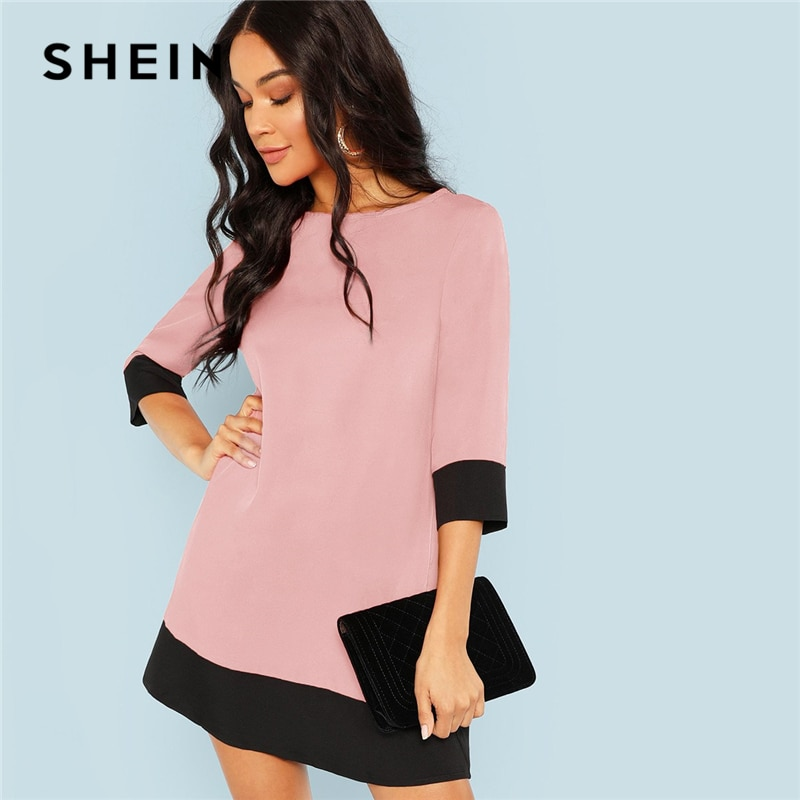SHEIN Pink Office Lady Colorblock Contrast Trim Tunic O-Neck 3/4 Sleeve Straight Dress Autumn Workwear Elegant Women Dresses