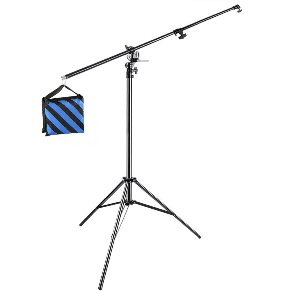 Neewer Photo Studio-حامل إضاءة 2 في 1 13 قدم/3.9 متر مع ذراع ذراع 74.8 بوصة وحقيبة رمل لدعم سوفت بوكس ستوديو