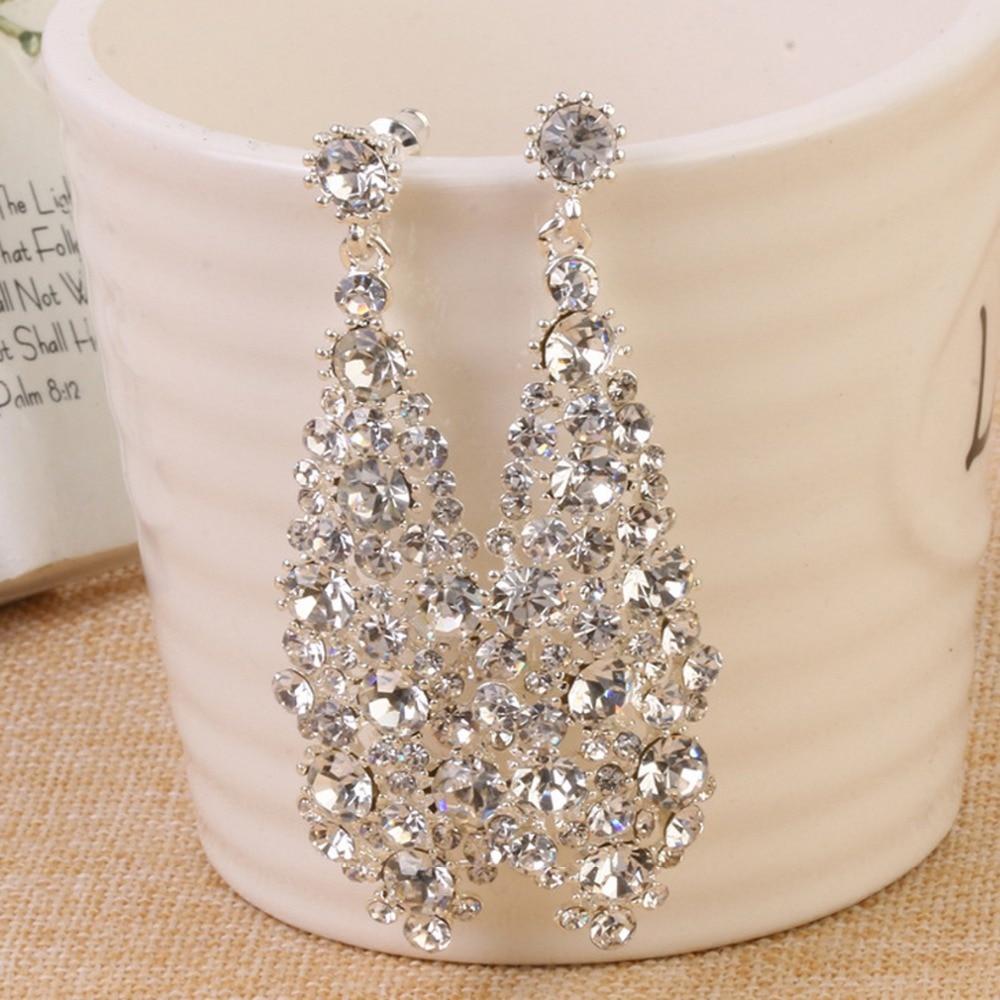 Pendientes de boda brillantes y transparentes para novias, dorados pendientes largos 2017, accesorios para fiesta de damas de honor, joyería