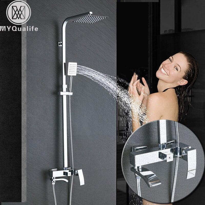 Cromo grifo de ducha de lluvia para cuarto de baño de ducha bañera mezcladoras columna baño grifo de ducha cascada La montado en la pared