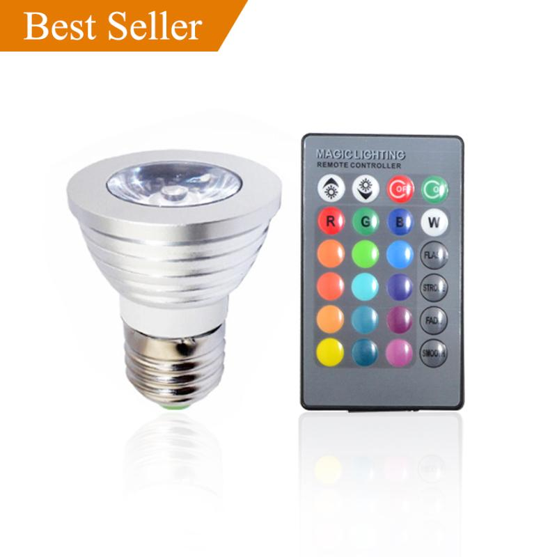 5PACK E27 3W 1X3W LED Dimmable/24Keys Remote-Controlled/Decorative RGB Spotlights RGB LED lamps 16 Color Change bulb 85-220V