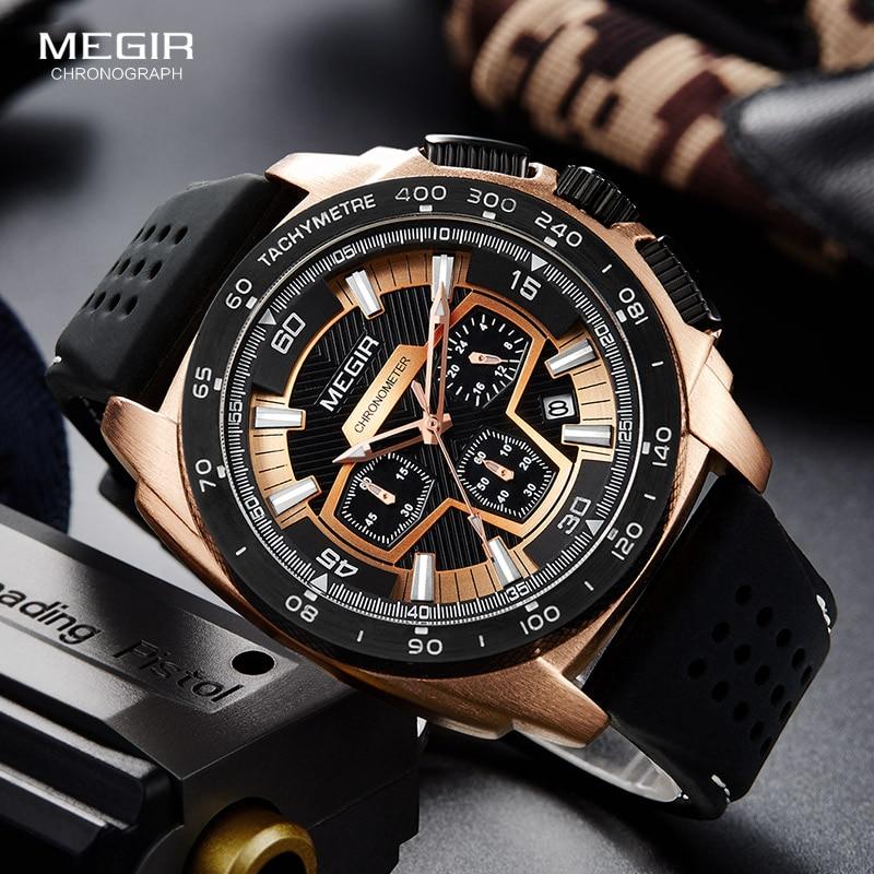 Megir الذكور رجالي كرونوغراف ساعات رياضية مع حركة الكوارتز شريط مطاطي ساعة اليد مضيئة للرجل الأولاد 2056G-1N0