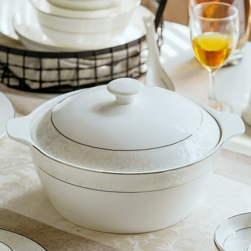 Recipiente para servir bufé de porcelana de 9 pulgadas, olla de cerámica de mezcla térmica, cuencos para servir porcelana, macetas de cerámica para sopas, fideos de cocina