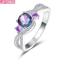 jrose double row aaa zircon band silver 925 jewelry engagement rings for women wedding bijoux femme anillos mujer size 6 7 8 9