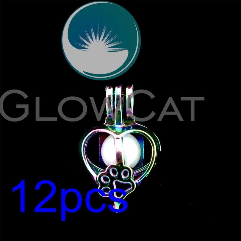 12x R-C696 Arco Iris Color corazón pata impresión perla jaula joyería fabricación aceite esencial Difusor Aroma perlas jaula medallón colgante