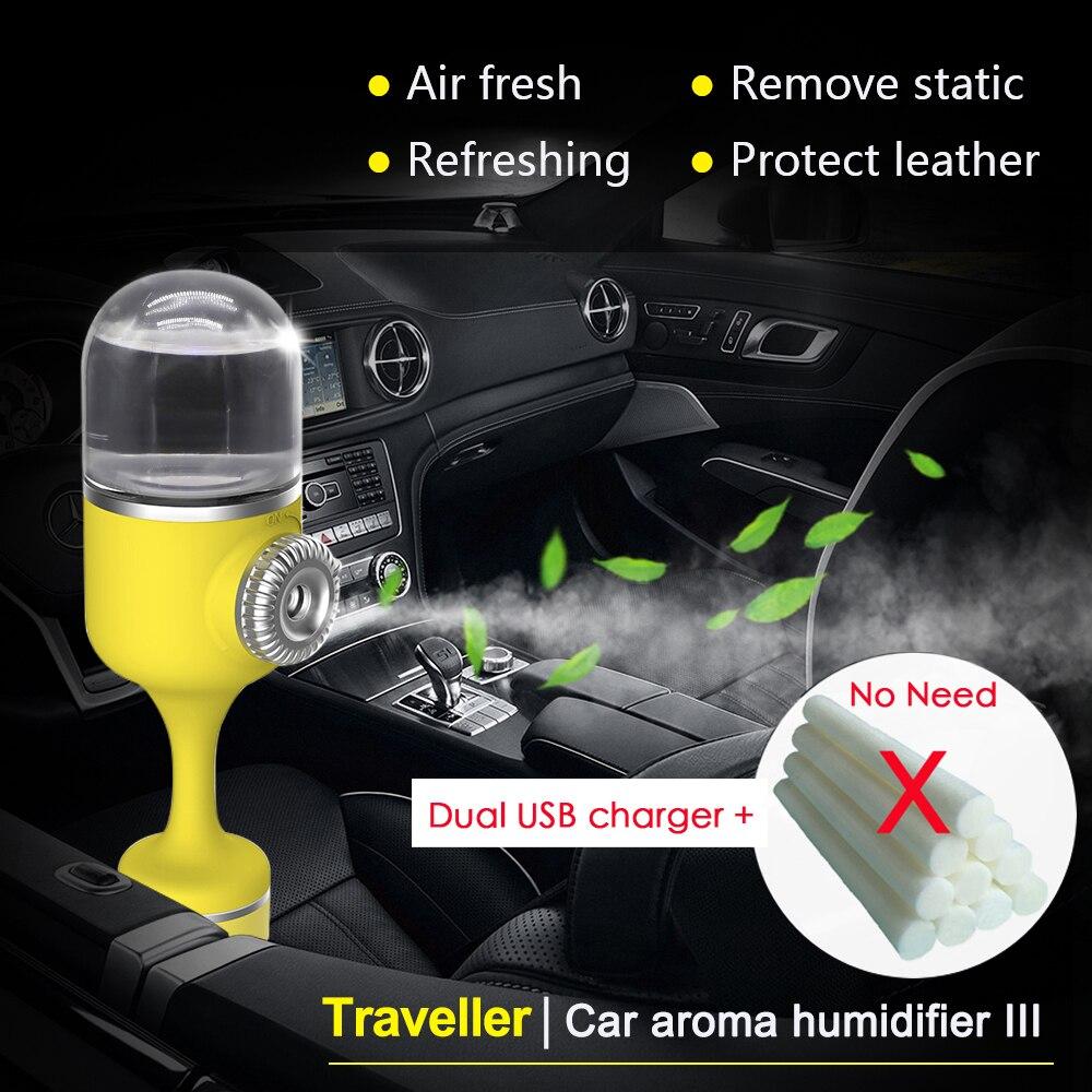 Nanum 2018 humidificador con aroma para auto difusor de niebla fresco ultrasónico aromaterapia 70ML ambientador purificador de coche con cargador USB Dual