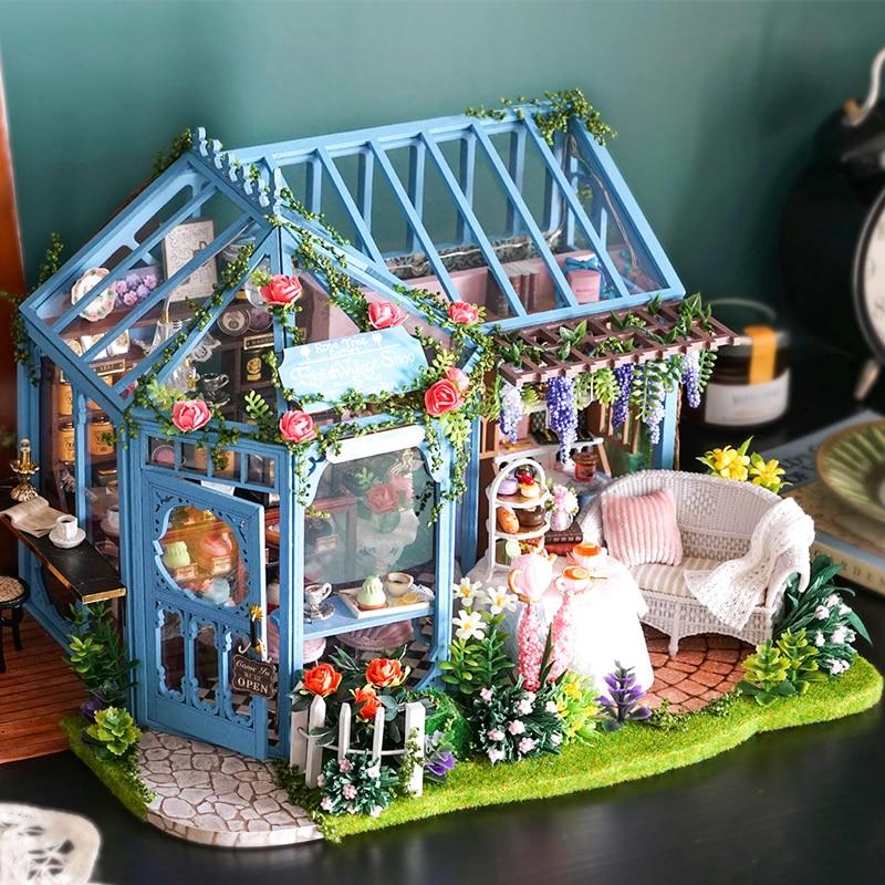 دمية خشبية لبيت CUTEBEE DIY, دمية بيت ومجموعة دمية مصغرة ، أثاث Casa Music Led ، ألعاب للأطفال ، هدية عيد ميلاد A68C