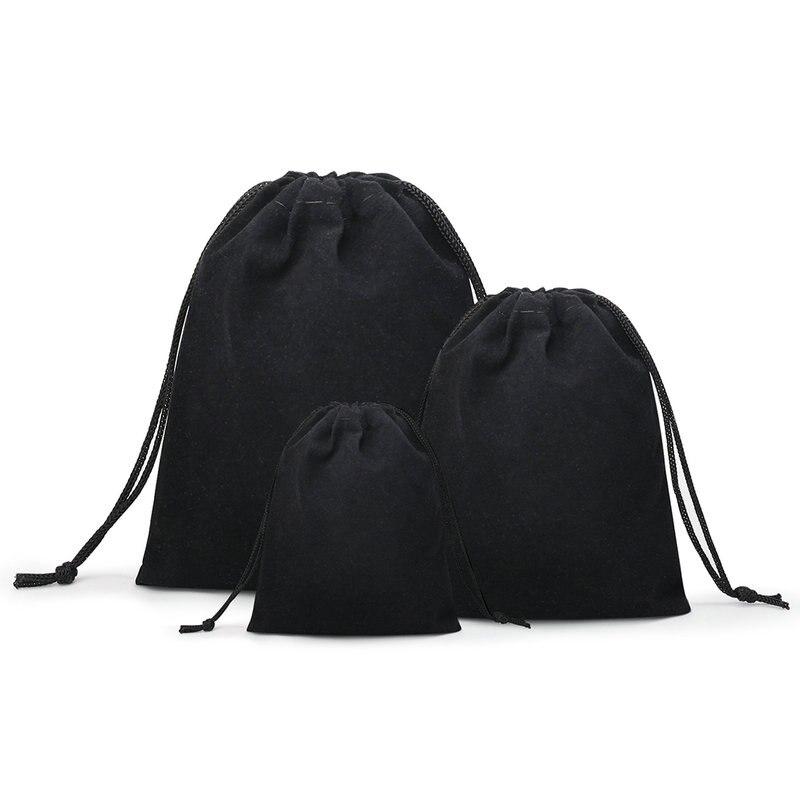 50 unids/lote terciopelo negro 3 tamaños joyas bolsas de regalo soporte bolsos con correa Wholesale10 * 12cm 7*9cm 5*7cm B-057-1