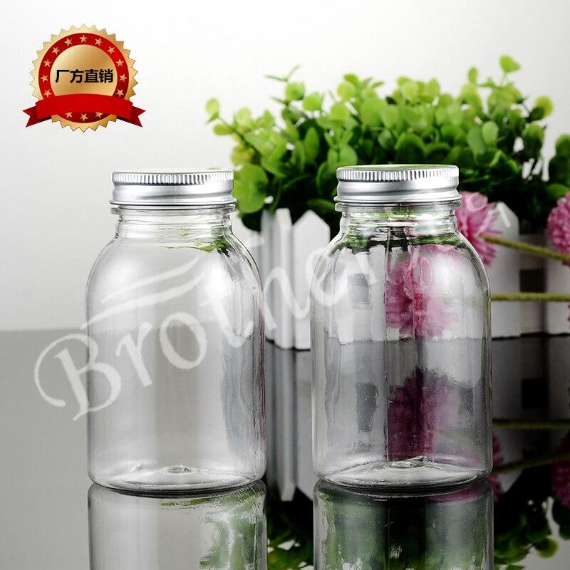 Botella de leche transparente de 220 ml, botella de máscara de sal de baño, botella de PET, 10 unids/lote
