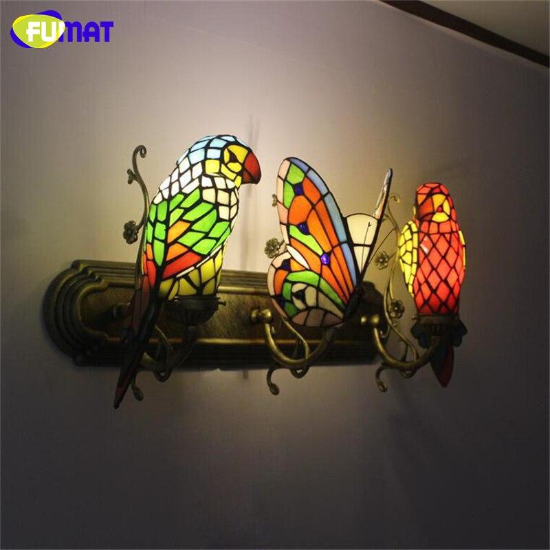 fumat borboleta lampada de parede feito a mao arte papagaio vitrais sombra luzes