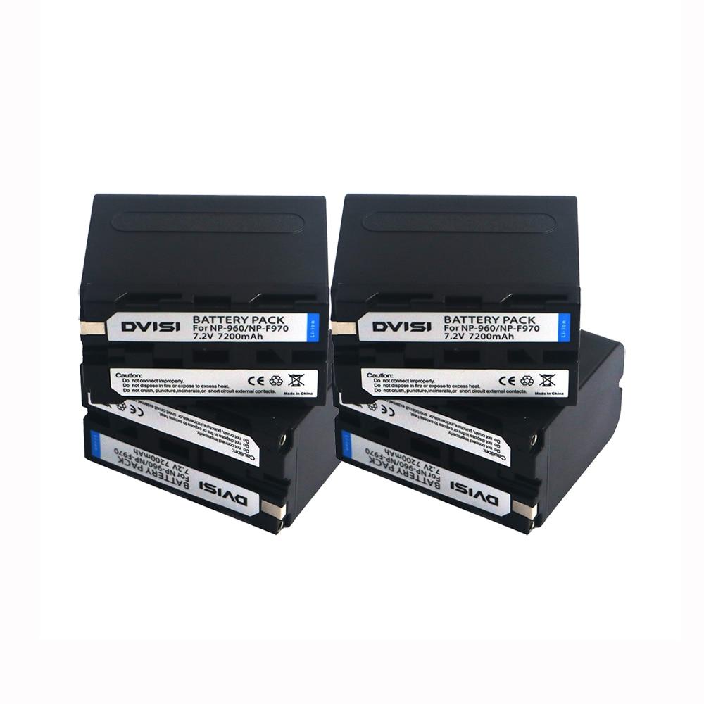 4 pçs/lote NP-F970 NP F970 NP-F960 NP-F950 7200mAh Recarregável Da Bateria Da Câmera Para Sony CCD-RV100 CCD-TRV58 DCR-TRV110K z1