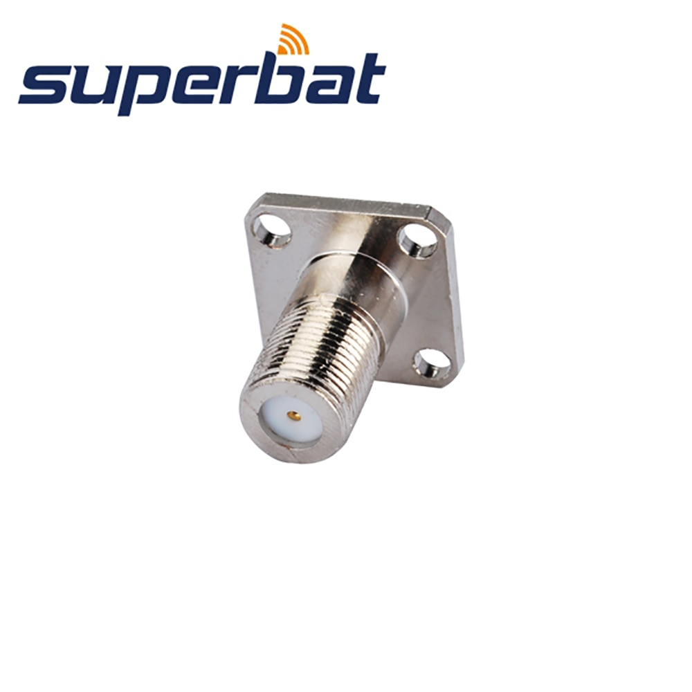 Superbat F 4 Hole Panel Mount Jack with Extended Dielectric&Solder Post RF Coaxial Connector