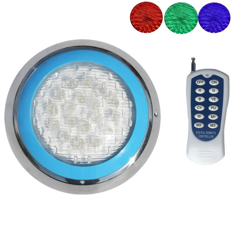 rgb swimming pool light 9w surface mounted pool lamp dc12v underwater pond lighting resin filled 12V Marine Boat RGB LED Underwater Light with Remote Control Swimming Pool Pond Outdoor Lighting