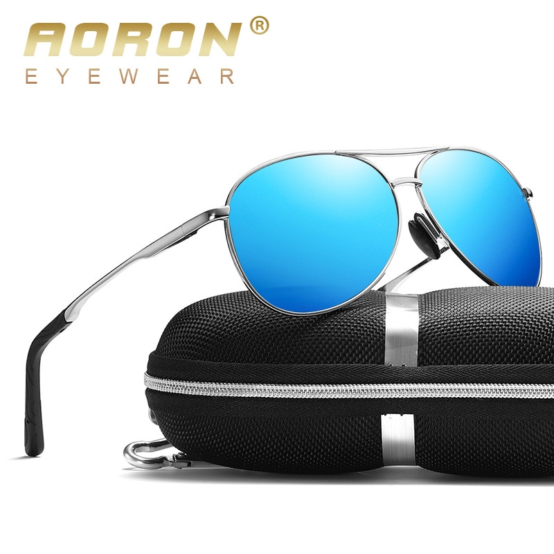 AORON New Polarized Men Sunglasses Classic Pilot Driving Sun Glasses Metal Frame Mirror Lens Sunglas