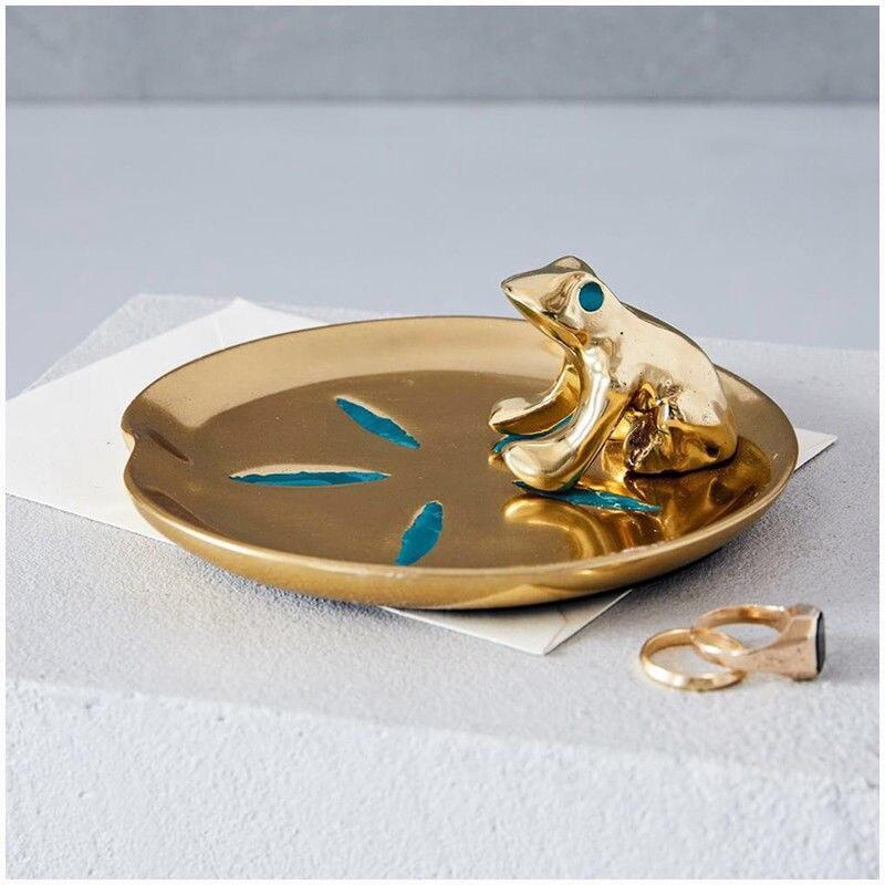 Позолоченная тарелка для хранения ювелирных изделий в виде лягушки в форме листа лотоса, роскошная тарелка, маленький орнамент, подарок для...