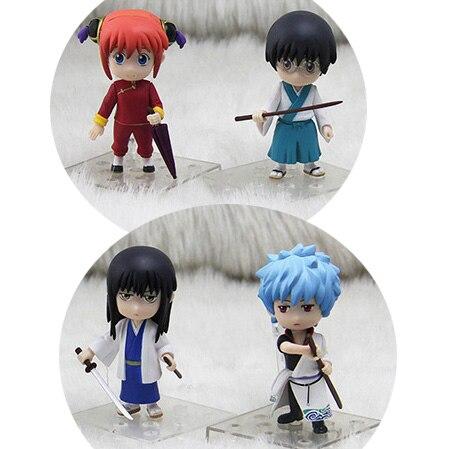 4 teile/los 9 cm GINTAMA Silber Seele Katsura Kotarou Shimura Shinpachi Sakata Gintoki Kagura Anime Action Figure PVC Modell Spielzeug geschenk
