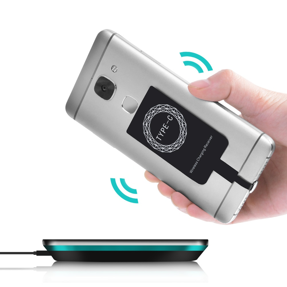 Receptor sem fio universal qi, receptor receptor wireless para iphone 6 6s android micro usb para celulares carregador de carregador