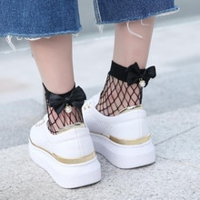 New socks High quality 2019 Fashion Summer Women Ruffle Fishnet Ankle High Socks Bow Tie Mesh Lace Fish Net Short Socks @8