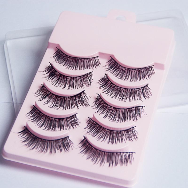 5 Pairs Women Soft Natural Long Cross False Eyelashes Handmade Thick Fake Eye Lashes Extension Beaut