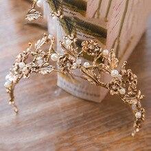 Винтажная тиара в стиле барокко с золотыми жемчужинами и листьями, свадебная тиара, Хрустальная корона, ободок для волос, головной убор, тиара, свадебные аксессуары для волос, головная повязка для невесты